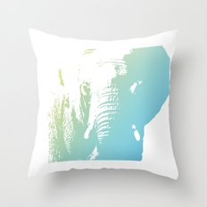 Elephant in Blue Throw Pillow