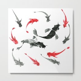 Sumi-e hand drawn ink fishes, black and red. Japan traditional style. Metal Print