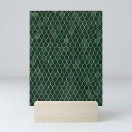 Mermaid Fin Pattern // Emerald Green Gold Glittery Scale Watercolor Bedspread Home Decor Mini Art Print