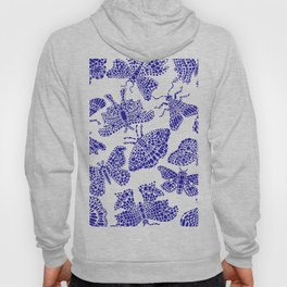 Butterfly Pattern Navy White Stamp Hoody