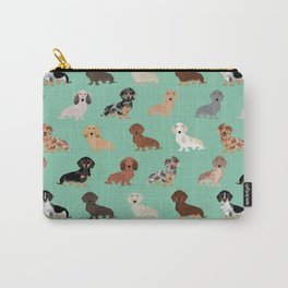 Dachshund dog breed pet pattern doxie coats dapple merle red black and tan Carry-All Pouch