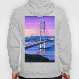 Lit Akashi Strait Bridge Under Vibrant Purple Sky Hoody