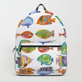 Watercolor Colorful Tropical Fish Backpack