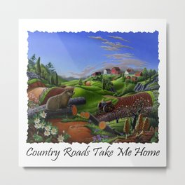 Country Roads Take Me Home, Farm Folk Art, Groundhog Spring, Rural Country Americana,Woodchuck Metal Print