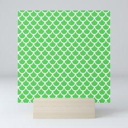 Scales (White & Green Pattern) Mini Art Print