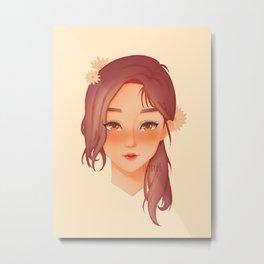 Daisy Girl with Mauve Hair Portrait Metal Print