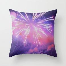 Purple cloud fireworks Throw Pillow