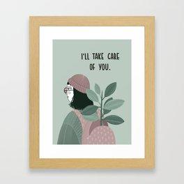 Girl with plant in the backpack illustration Framed Art Print