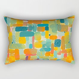 Colorful shapes acrylic painted illustration pattern Rectangular Pillow