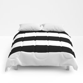 Even Horizontal Stripes, Black and White, XL Comforters