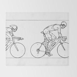 Transitions through Triathlon Cyclists Drawing B Throw Blanket
