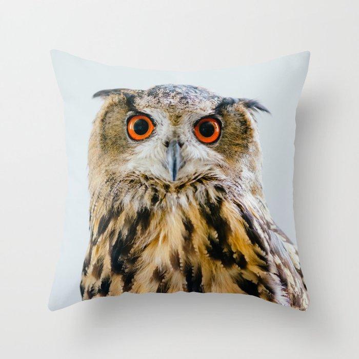 Eurasian Eagle Owl Throw Pillow