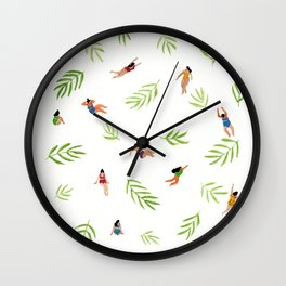 Swimming with the Palms Wall Clock