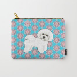 Bichon Frise snowflakes christmas holiday themed pattern print pet friendly dog breed gifts Carry-All Pouch