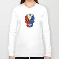 philippines Long Sleeve T-shirts featuring Sugar Skull with Roses and Flag of Philippines by Jeff Bartels