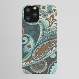 Turquoise Brown Vintage Paisley iPhone Case