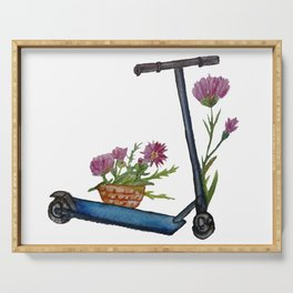 Push Scooter & Flowers Serving Tray