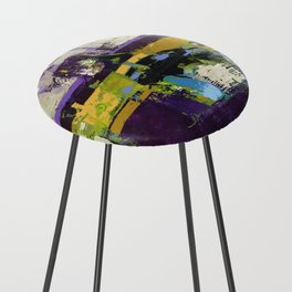 Controversy Prince Deep Purple Abstract Painting Modern Art Counter Stool