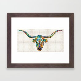 Colorful Longhorn Art By Sharon Cummings Framed Art Print