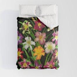 Display of daylilies II on blck Comforters
