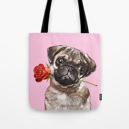 Pug with Red Rose Tote Bag