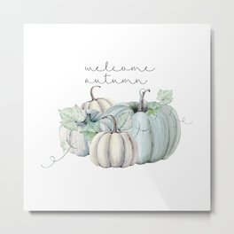 welcome autumn blue pumpkin Metal Print