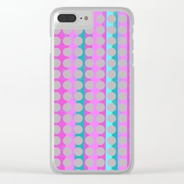 Pink & Aqua Stripes under Taupe Spots Clear iPhone Case