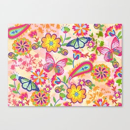 Butterflies and Fowers Canvas Print