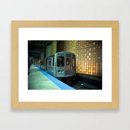 A blue line train to Forrest Park Framed Art Print