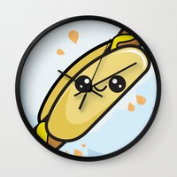 hot dog Wall Clocks featuring Hot Dog by Aimee Liwag