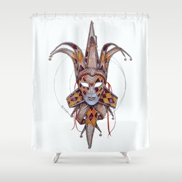 Male Venetian Jester Mask | Watercolor and Colored Pencil  Shower Curtain