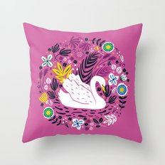 Delightful Swan Throw Pillow