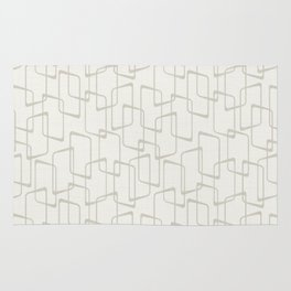 Beige / Light Warm Gray Retro Geometric Print Rug