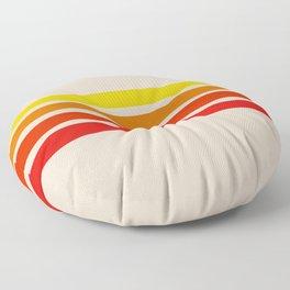 Takeaki - Classic Red Orange Yellow Retro Stripes Floor Pillow