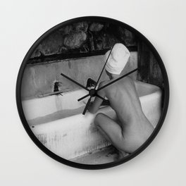 Bath in Paris, Cold Water Flat, Female Nude black and white art photography / photograph Wall Clock