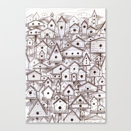 Birdhouse village Canvas Print
