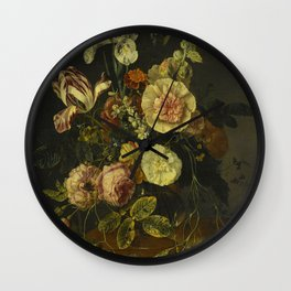 Jacob Van Walscapelle - Still Life With Flowers Wall Clock