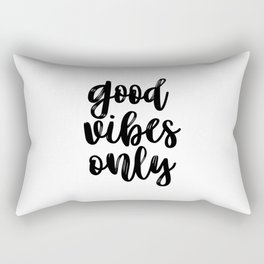 Good Vibes Only, Office Wall Art, Black And White, Motivational Quote, Inspirational Quote Rectangular Pillow