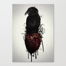 Raven and Heart Grenade Canvas Print