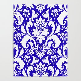 Paisley Damask Blue and White Poster