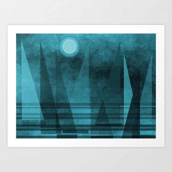 Blue Moonlight Sail Art Print
