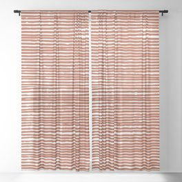 Abstract Rustic Striped Pattern, Burnt Orange Sheer Curtain