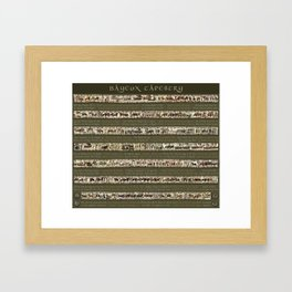 Bayeux Tapestry on Army Green - Full scenes & description Framed Art Print
