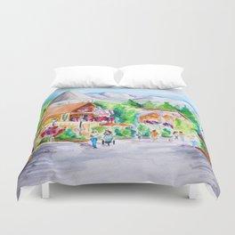 Vail Village Colorado Watercolor Duvet Cover