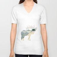 elk V-neck T-shirts featuring Elk. by Wooden Wolves