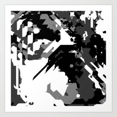 Black Gray and White Abstract Art Print