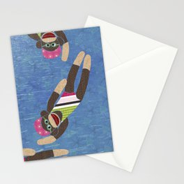 Sock Monkey Water Ballet Vertical Stationery Cards