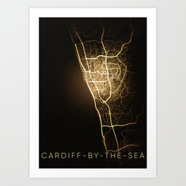 cardiff by the sea California city night light map Art Print