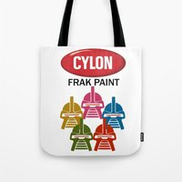battlestar Tote Bags featuring Cylon Frak Paint by Don Calamari