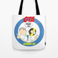 gta Tote Bags featuring GTA - Mat Botak + Ninja Boy with Circle Behind by Azlee Mahat